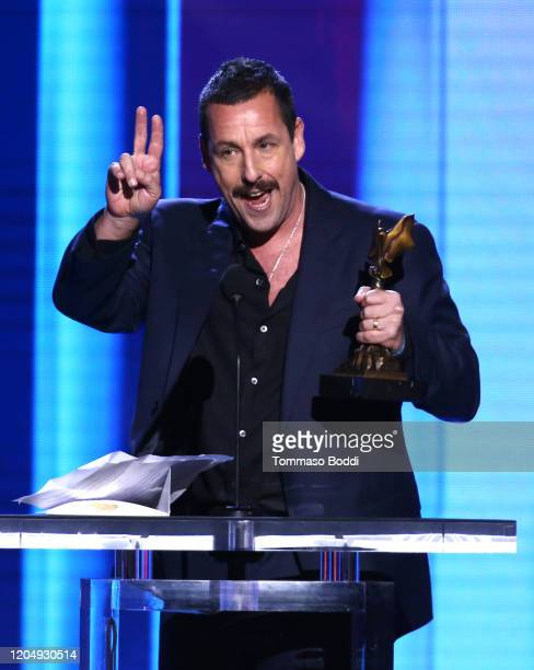 Adam Sandler accepts the Best Male Lead award for 'Uncut Gems' onstage during the 2020 Film Independent Spirit Awards on February 08 2020 in Santa...