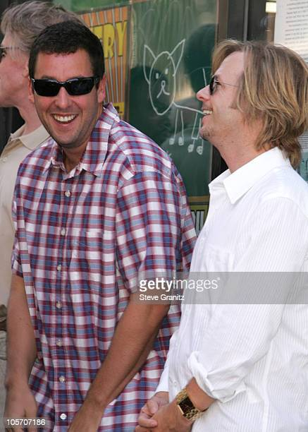 Adam Sandler and David Spade during Chris Farley Honored Posthumously With a Star on the Hollywood Walk of Fame in Hollywood California United States