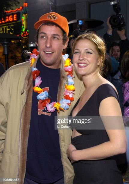 Adam Sandler and Drew Barrymore during '50 First Dates' Premiere Red Carpet at Mann Village Theatre in Westwood California United States