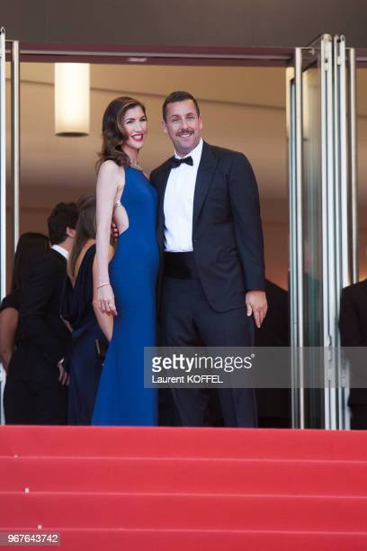 Adam Sandler and Jackie Titone attend the 'The Meyerowitz Stories' screening during the 70th annual Cannes Film Festival at Palais des Festivals on...