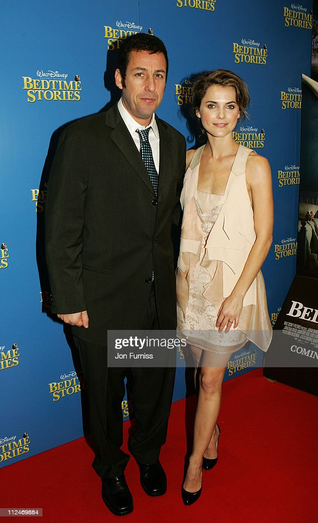 Adam Sandler and Keri Russell arrive at the UK film premiere of 'Bedtime Stories' held at the Odeon Kensington on December 11, 2008 in London, England.