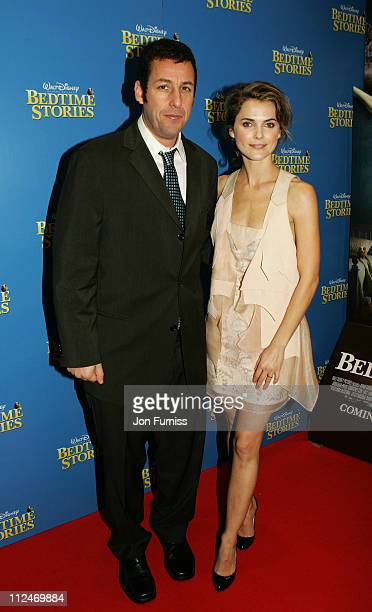 Adam Sandler and Keri Russell arrive at the UK film premiere of 'Bedtime Stories' held at the Odeon Kensington on December 11 2008 in London England
