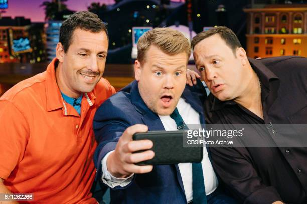 Adam Sandler and Kevin James chat with James Corden during 'The Late Late Show with James Corden' Wednesday April 19 2017 On The CBS Television...