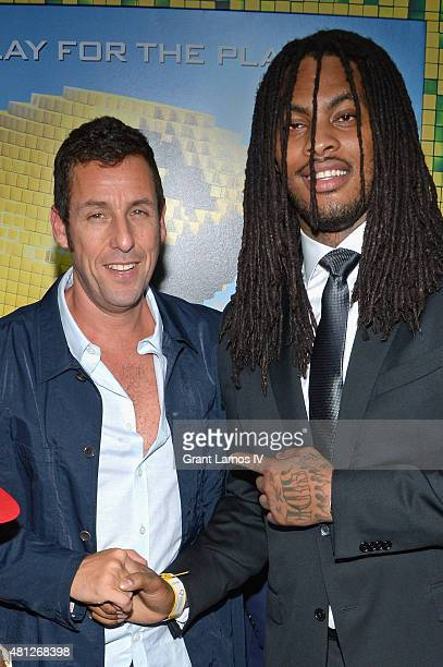 Adam Sandler and rapper Waka Flocka Flame attend the Pixels New York Premiere at Regal EWalk on July 18 2015 in New York City