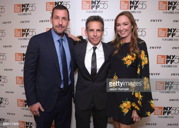 Adam Sandler Ben Stiller and Elizabeth Marvel attend the New York Film Festival screening of The Meyerowitz Stories at Alice Tully Hall on October 1...