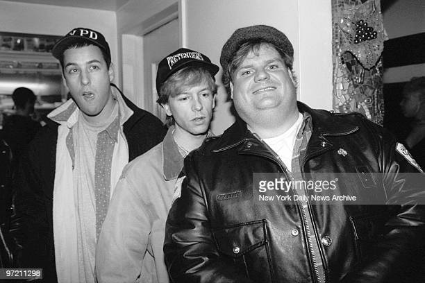Adam Sandler David Spade and Chris Farley arrive for a party at El Teddys