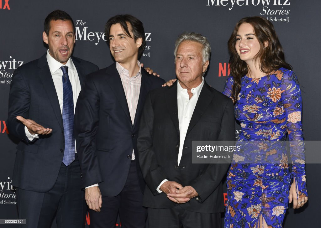 Adam Sandler, director Noah Baumbach, Dustin Hoffman, and Grace Van Patten attend screening of Netflix's 'The Meyerowitz Stories (New And Selected)' at Directors Guild Of America on October 11, 2017 in Los Angeles, California.