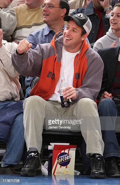 Adam Sandler during Celebrities Attend Chicago Bulls vs New York Knicks Game March 3 2006 at Madison Square Garden in New York City New York United...