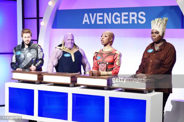 LIVE Adam Sandler Episode 1765 Pictured Alex Moffat as Thor Beck Bennett as Thanos Ego Nwodim as Okoye and Leslie Jones as Groot during the Family...