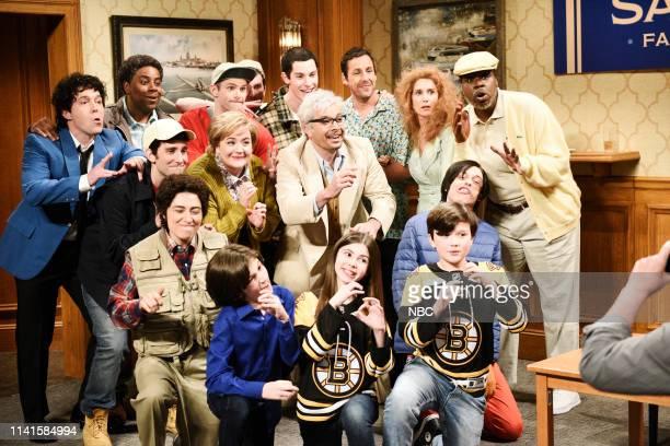 """Adam Sandler"""" Episode 1765 -- Pictured: Beck Bennett as The Wedding Singer, Kenan Thompson as Ron Baker, Kyle Mooney as Ray Sandler, Melissa..."""