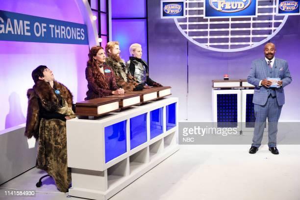"Adam Sandler"" Episode 1765 -- Pictured: Kyle Mooney as Bran Stark, Cecily Strong as Melisandre, Mikey Day as Tormund Giantsbane, Kate McKinnon as..."