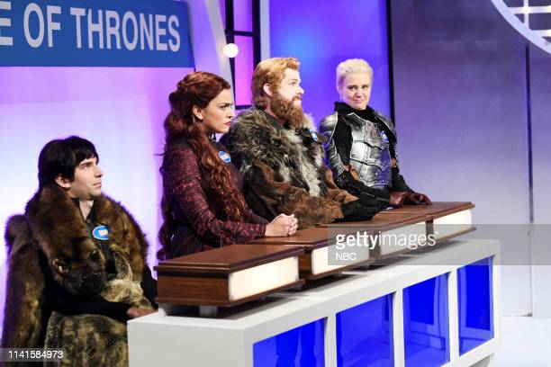 LIVE Adam Sandler Episode 1765 Pictured Kyle Mooney as Bran Stark Cecily Strong as Melisandre Mikey Day as Tormund Giantsbane and Kate McKinnon as...
