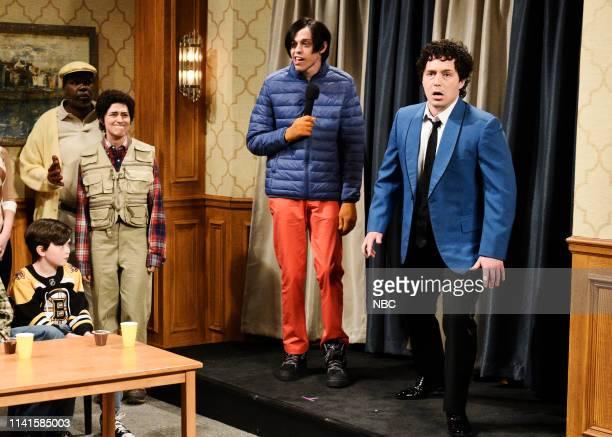 "Adam Sandler"" Episode 1765 -- Pictured: Leslie Jones as Chubbs, Melissa Villaseñor as the Waterboy, Pete Davidson as Little Nicky, and Beck Bennett..."