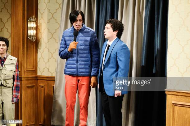 """Adam Sandler"""" Episode 1765 -- Pictured: Pete Davidson as Little Nicky and Beck Bennett as the Wedding Singer during the """"Sandler Family Reunion""""..."""