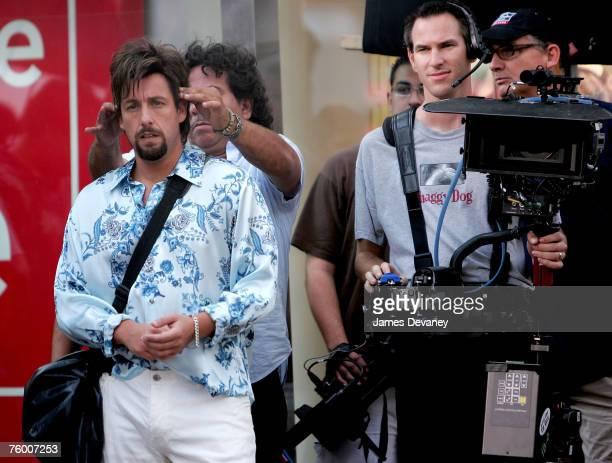 """Adam Sandler filming on location In New York City For ''You Don't Mess With The Zohan"""" on July 27, 2007 in New York ."""