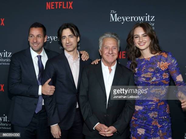 Adam Sandler Noah Baumbach Dustin Hoffman and Grace Van Patten at a special screening of The Meyerowitz Stories at DGA Theater on October 11 2017 in...