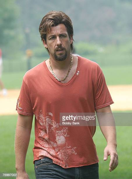 """Adam Sandler on location for """"You Don't Mess With The Zohan"""" at The Great Lawn in Central Park, New York August 6 2007"""