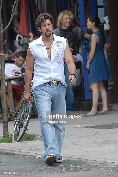 """Adam Sandler on the set of """"You Don't Mess With The Zohan"""" at Orchard and Stanton Steet on August 3, 2007 in New York City, New York."""