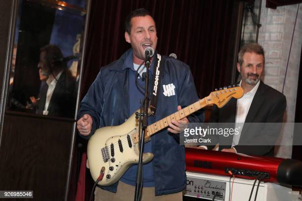Adam Sandler performs at BOVET 1822 Artists for Peace and Justice Present Songs From The Cinema Benefit on March 3 2018 in Los Angeles California
