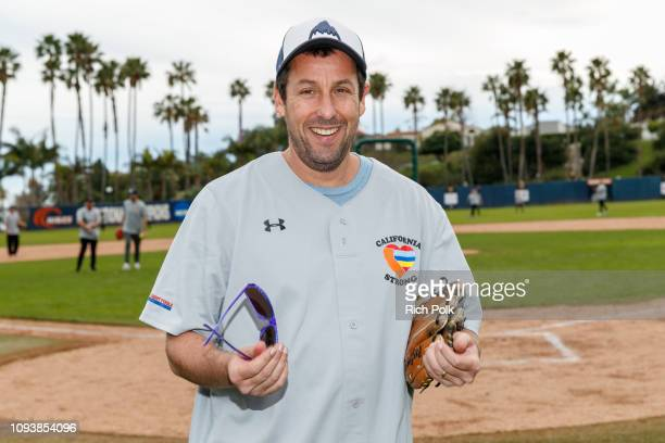 Adam Sandler plays in a charity softball game to benefit 'California Strong' at Pepperdine University on January 13 2019 in Malibu California