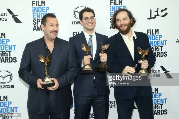 Adam Sandler poses with Best Directors for Uncut Gems Benny Safdie and Josh Safdie in the press room during the 2020 Film Independent Spirit Awards...