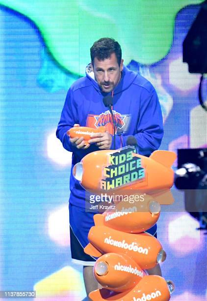 Adam Sandler speaks onstage at Nickelodeon's 2019 Kids' Choice Awards at Galen Center on March 23 2019 in Los Angeles California