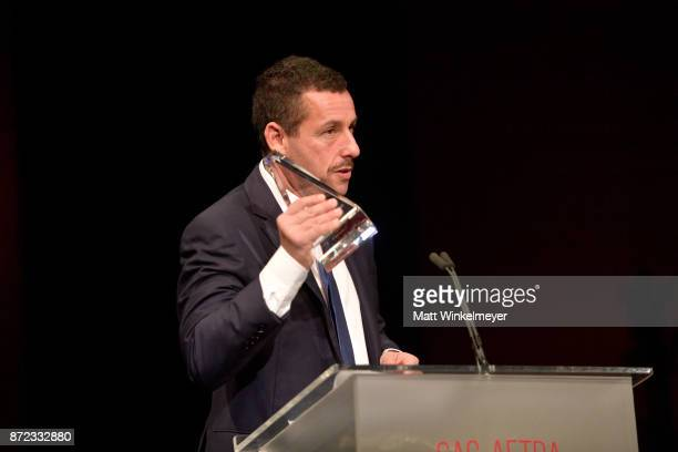 Adam Sandler speaks onstage at the SAGAFTRA Foundation Patron of the Artists Awards 2017 at the Wallis Annenberg Center for the Performing Arts on...