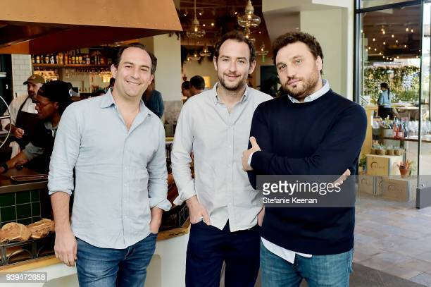 Adam Saper, Alex Saper and Nicola Farinetti attend Terra Grand Opening at Eataly Los Angeles at Eataly LA on March 28, 2018 in Los Angeles,...