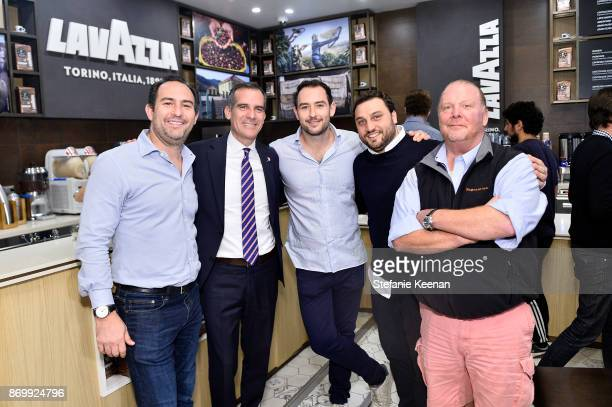 Adam Saper Eric Garcetti Alex Saper Nicola Farinetti and Mario Batali attend Eataly Los Angeles Grand Opening Celebration at Eataly LA on November 3...