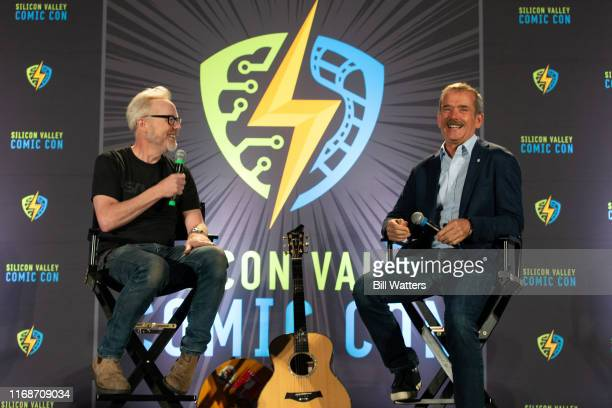 Adam Savage and Chris Hadfield speak on stage at the Silicon Valley Comic Con at the San Jose Convention Center on August 17 2019 in San Jose...