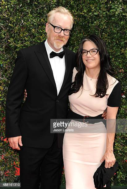 Adam Savage and wife Julia Savage attend the 2015 Creative Arts Emmy Awards at Microsoft Theater on September 12 2015 in Los Angeles California