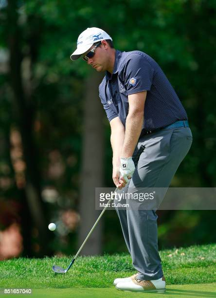 Adam Schenk chips onto the green on the sixth hole during the second round of the Webcom Tour DAP Championship on September 22 2017 in Beachwood Ohio