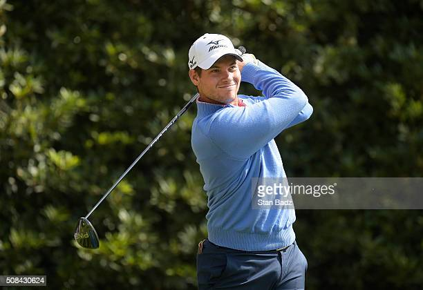 Adam Schenk hits a drive on the 16th hole during the first round of the Webcom Tour Club Colombia Championship Presented by Claro at Bogotá Country...