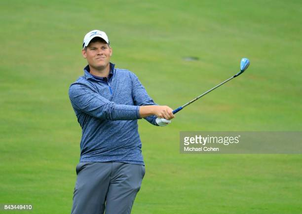 Adam Schenk hits a shot during the second round of the Nationwide Children's Hospital Championship held at The Ohio State University Golf Club on...