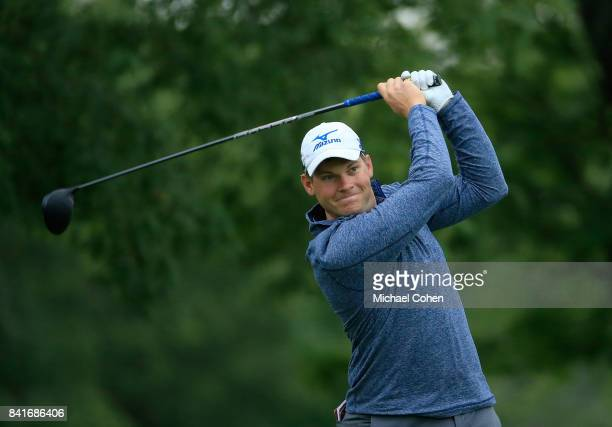 Adam Schenk hits his drive on the 12th hole during the second round of the Nationwide Children's Hospital Championship held at The Ohio State...
