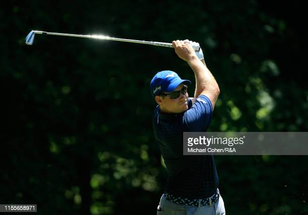 Adam Schenk hits his drive on the sixth hole during The Open Qualifying Series part of the John Deere Classic at TPC Deere Run on July 14 2019 in...