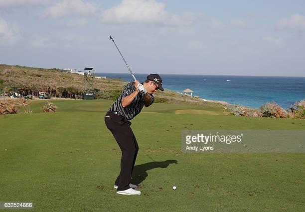 Adam Schenk hits his tee shot on the 17th hole during the second round of The Bahamas Great Abaco Classic at the Abaco Club on January 23 2017 in...