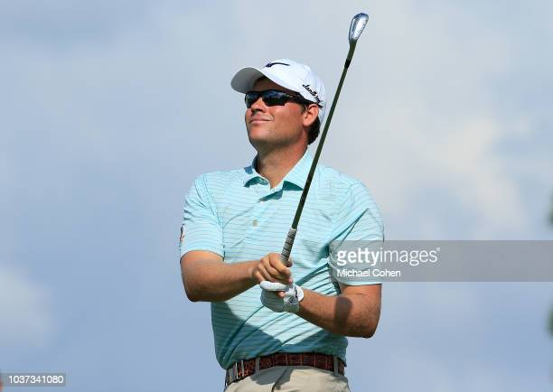 Adam Schenk hits his tee shot on the eighth hole during the second round of the Webcom Tour Championship held at Atlantic Beach Country Club on...