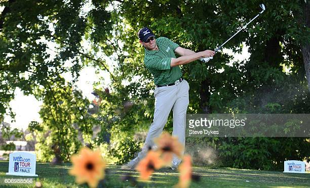 Adam Schenk hits his tee shot on the fourth hole during the second round of the Albertsons Boise Open on September 16 2016 in Boise Idaho