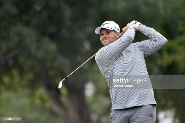 Adam Schenk of the United States plays a shot on the 6th tee during the first round of the Desert Classic at the Stadium Course on January 17 2019 in...