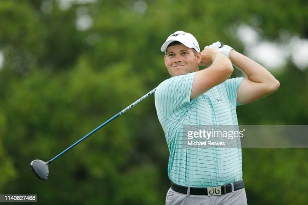 Adam Schenk of the United States plays his shot from the second tee during the third round of the 2019 Valero Texas Open at TPC San Antonio Oaks...