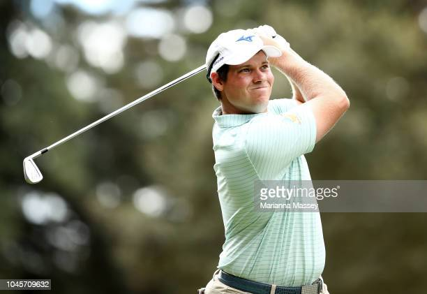 Adam Schenk plays his shot from the 12th tee during round one of the Safeway Open at the North Course of the Silverado Resort and Spa on October 4...
