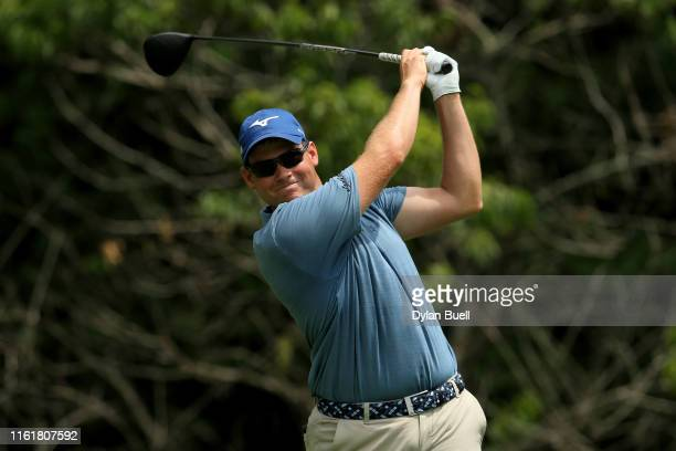 Adam Schenk plays his shot from the second tee during the third round of the John Deere Classic at TPC Deere Run on July 13 2019 in Silvis Illinois