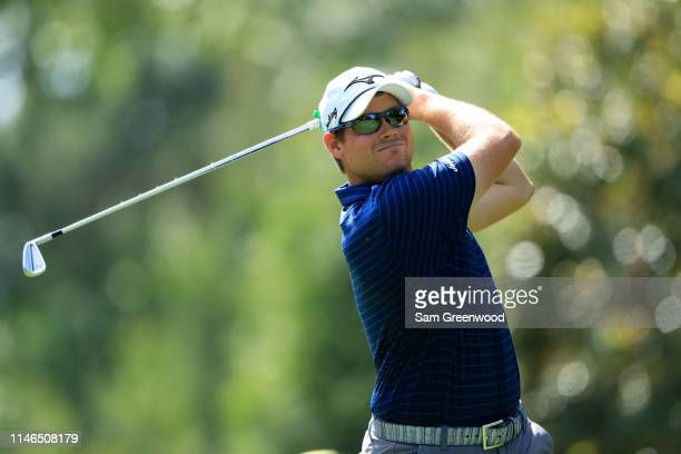 Adam Schenk plays his shot from the sixth tee during the first round of the 2019 Wells Fargo Championship at Quail Hollow Club on May 02 2019 in...