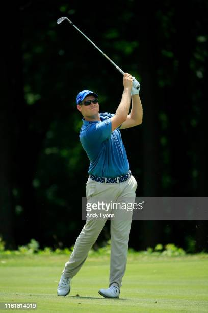 Adam Schenk plays his shot on the sixth hole during the third round of the John Deere Classic at TPC Deere Run on July 13 2019 in Silvis Illinois
