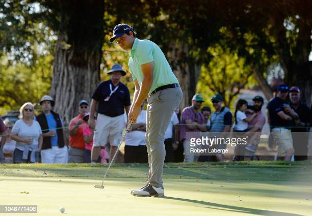 Adam Schenk putts on the 16th hole during the third round of the Safeway Open at the North Course of the Silverado Resort and Spaon October 6 2018 in...