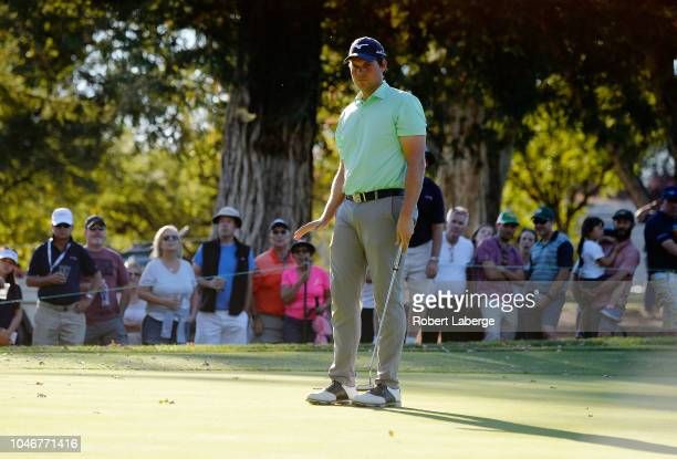 Adam Schenk reacts to his putt on the 16th hole during the third round of the Safeway Open at the North Course of the Silverado Resort and Spaon...