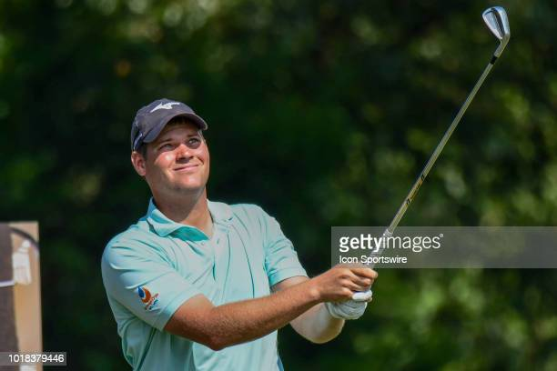 Adam Schenk tees off on the 16th hole during the second round of the Wyndham Championship on August 17 2018 at Sedgefield Country Club Greensboro NC