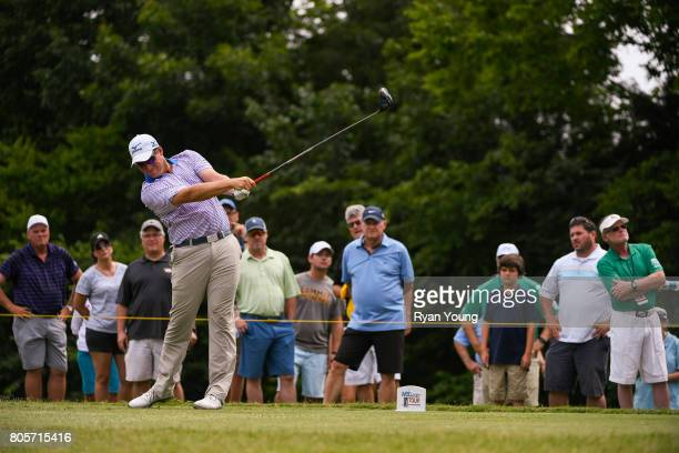 Adam Schenk tees off on the third hole during the final round of the Webcom Tour Nashville Golf Open Benefitting the Snedeker Foundation at Nashville...