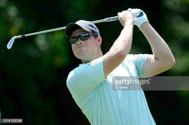 Adam Schenk tees off on the third hole during the third round of the Quicken Loans National at TPC Potomac on June 30 2018 in Potomac Maryland